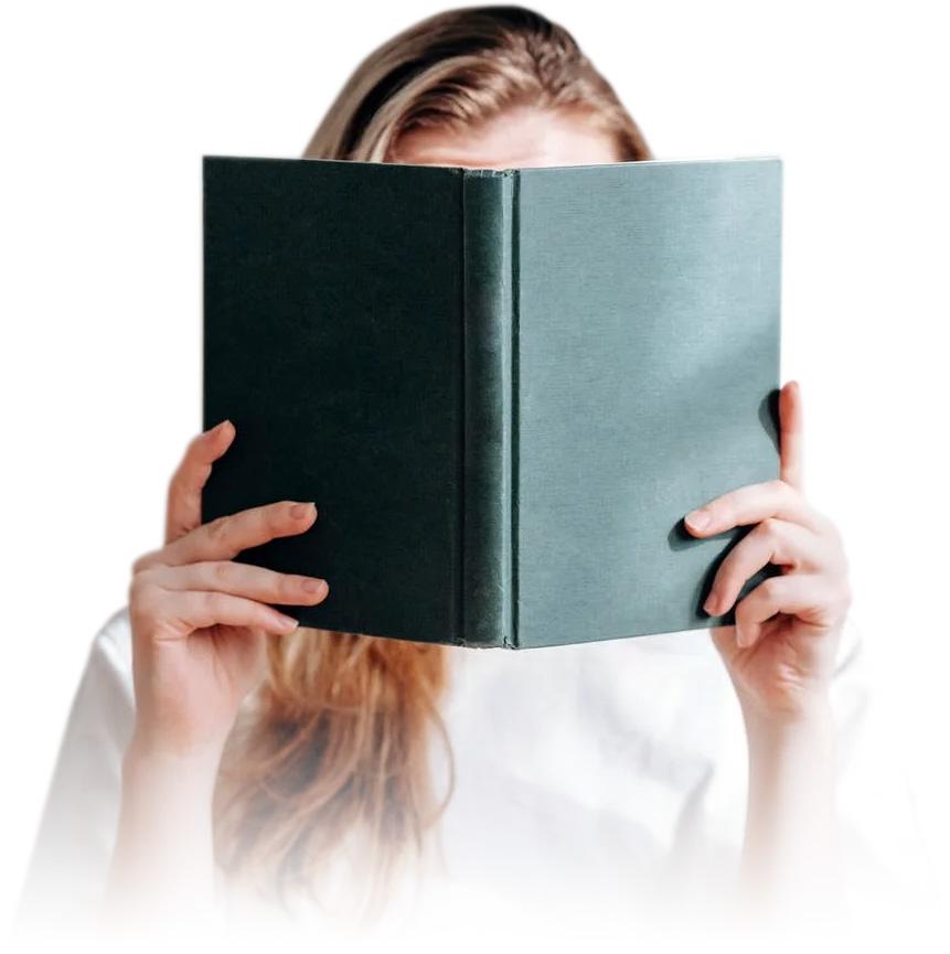 Muestra mujer leyendo un libro